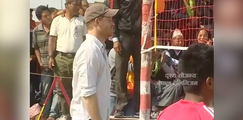 Britain's Prince Harry plays volleyball in Nepal