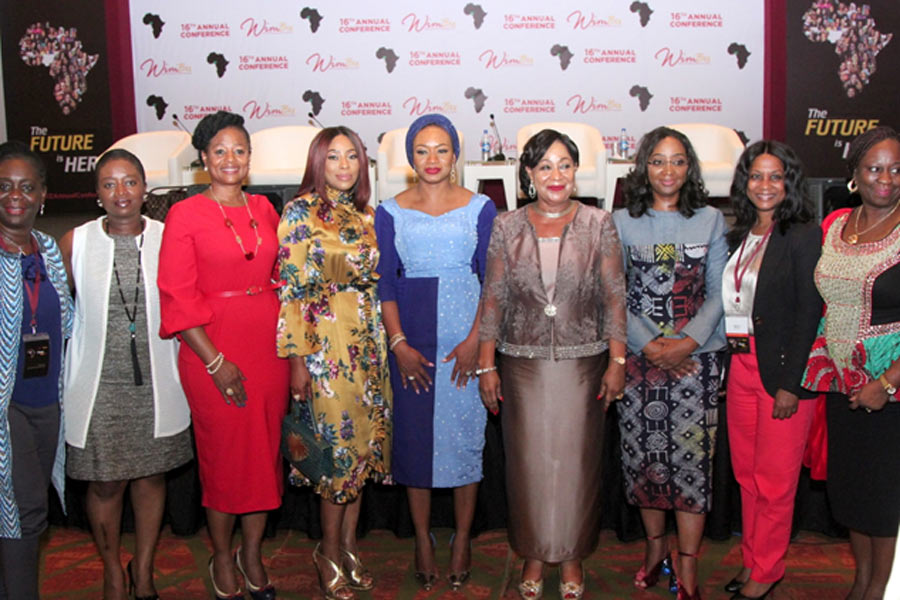 Mo Abudu (EbonyLife TV), Aishah Ahmad (WimBiz Executive Council) and the WimBiz team at the 2017 WimBiz annual conference, just prior to the EbonyLife TV Sisterhood Awards