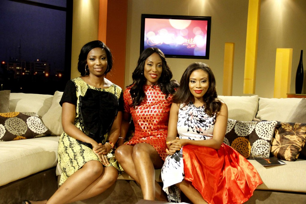 L-R: Newly unveiled co-Host, Bolanle Olukanni; Queen of Talk & CEO EbonyLife TV, Mo Abudu; newly unveiled co-Host, Marcy Dolapo Oni.