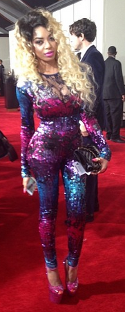 Singer Dencia also got her groove on as she stepped out in a colourful sequined gown