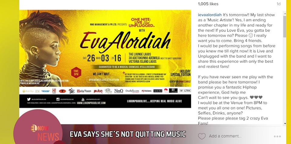 Eva says she's not quitting music