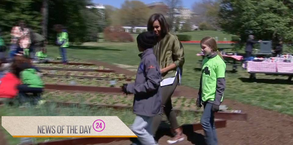 Michelle Obama hosts last garden planting at White House