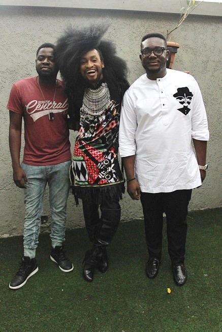 Wale Gaffar, Denrele Edun and a guest at the #eXploringHangout