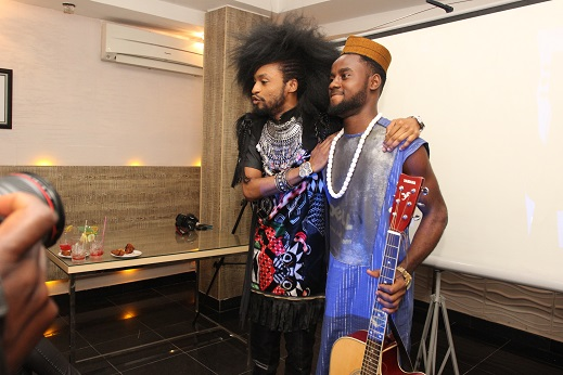 #eXploringHangout's host, Denrele Edun with John Bethel at the launch in Ikoyi